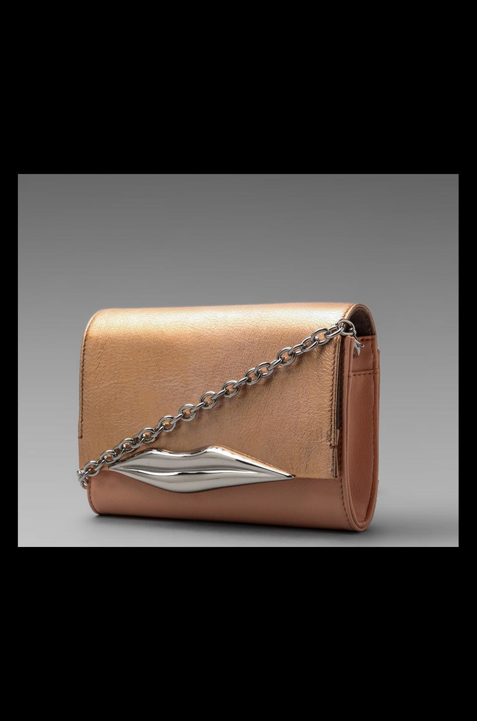 Diane von Furstenberg Lips Mini Soft Metallic Bag in Rose Gold
