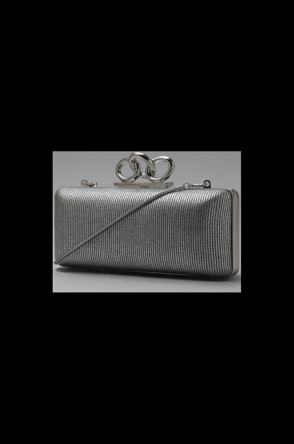 Diane von Furstenberg Sutra Metallic Canvas Clutch in Sliver