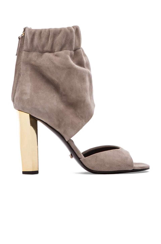 Diane von Furstenberg Bandana Heel in Taupe Suede