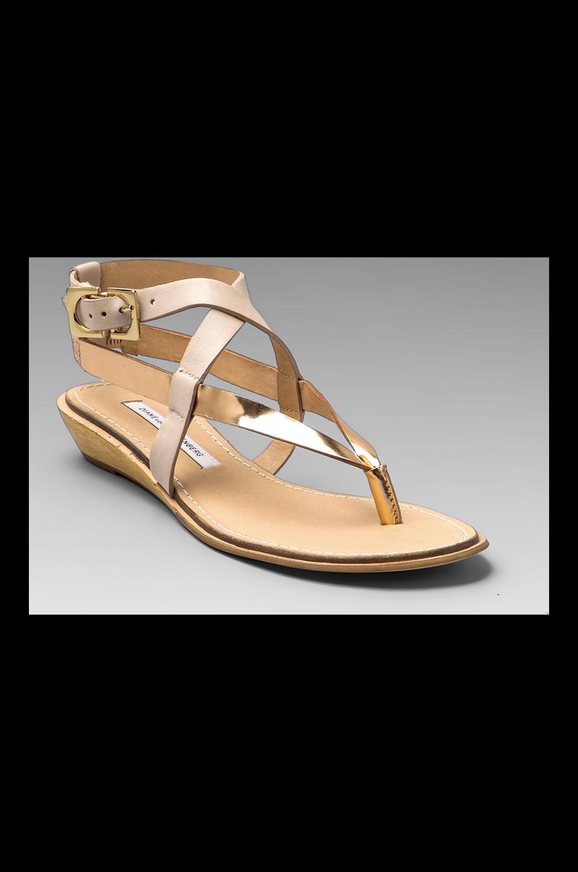 Diane von Furstenberg Dottie Sandal in Rose Gold/Pumice