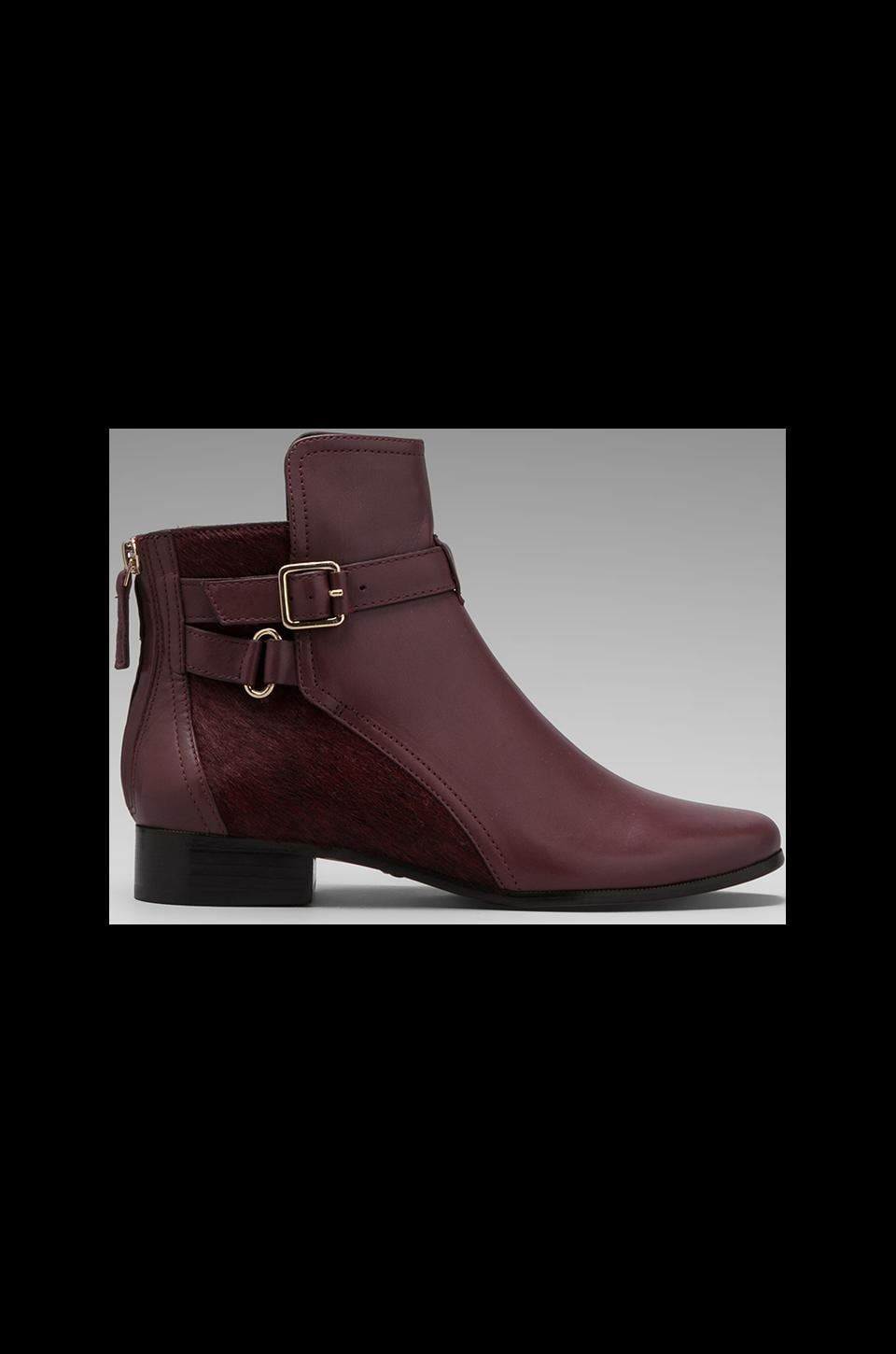 Diane von Furstenberg Keith Bootie with Calf Hair in Deep Cherry