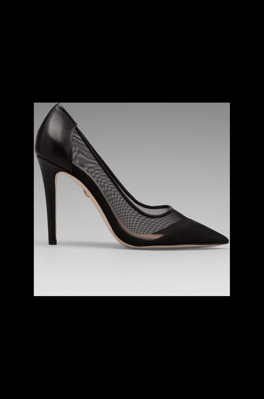 Diane von Furstenberg Bianca Heel in Black Calf/Black Mesh