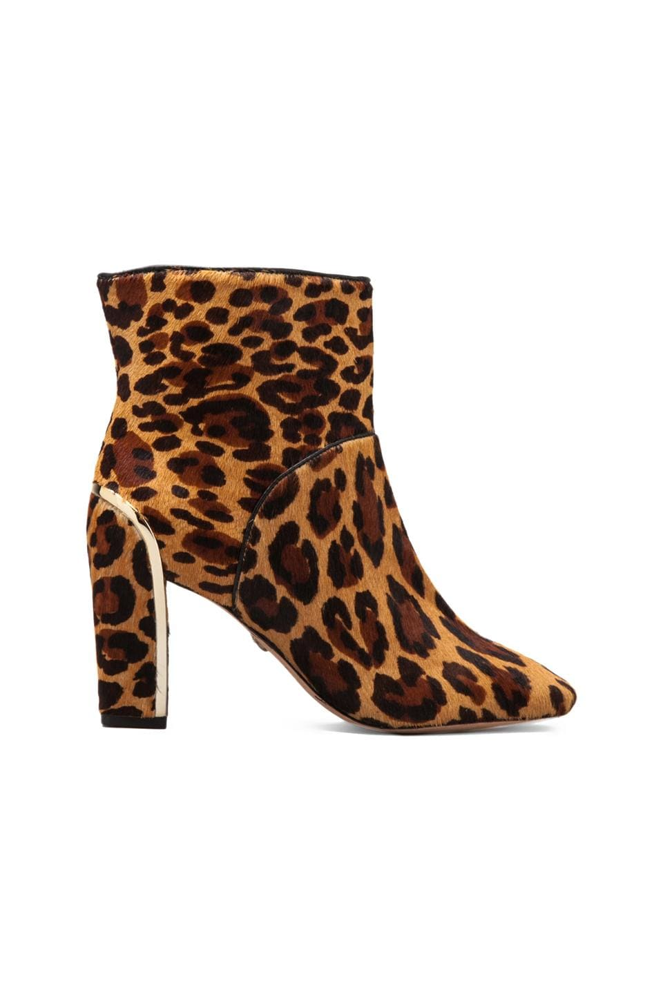 Diane von Furstenberg Glenda Bootie with Calf Hair in Camel Leopard