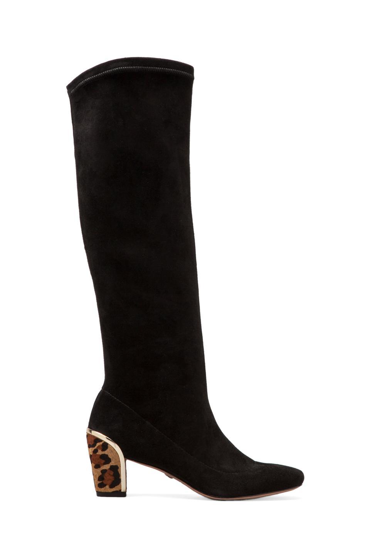 Diane von Furstenberg Henrietta Boot in Black/Camel Leopard