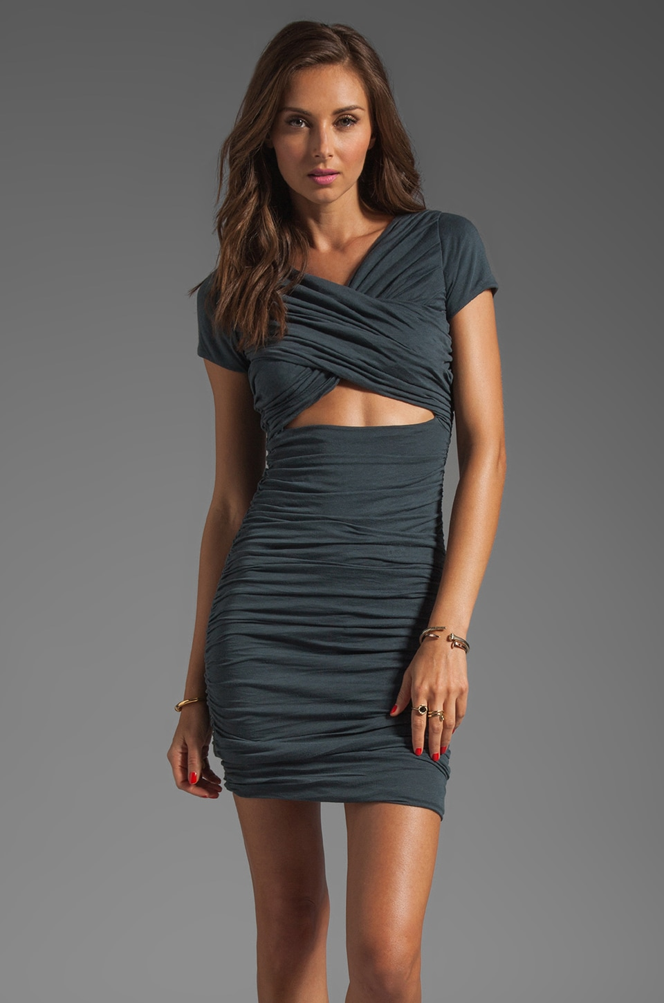 Elizabeth and James Cassandra Dress in Moody Grey