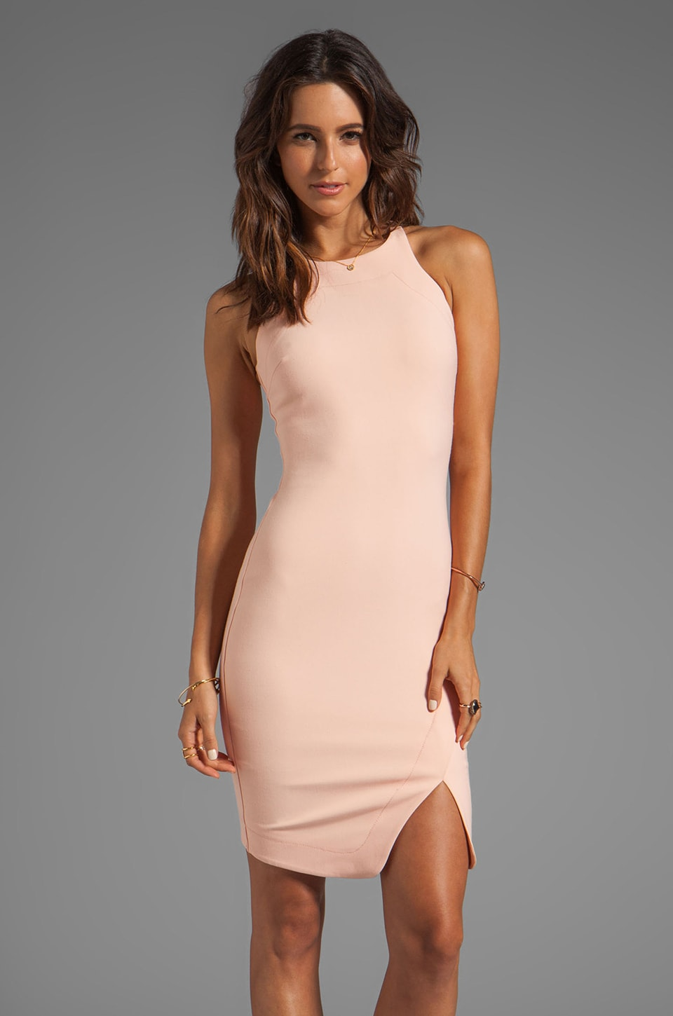 Elizabeth and James Bardot Dress in Peach