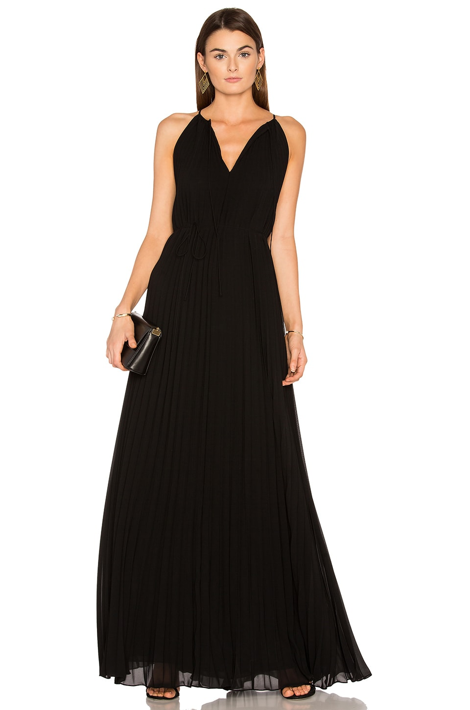 Cadence Tie Neck Pleated Gown by Elizabeth and James