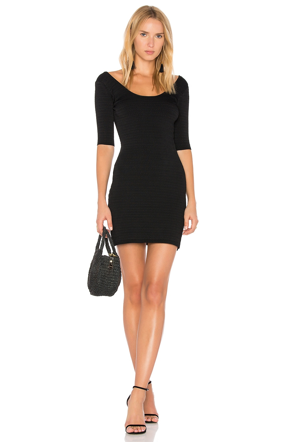 Elizabeth and James Lydia Scoop Back Mini Dress in Black