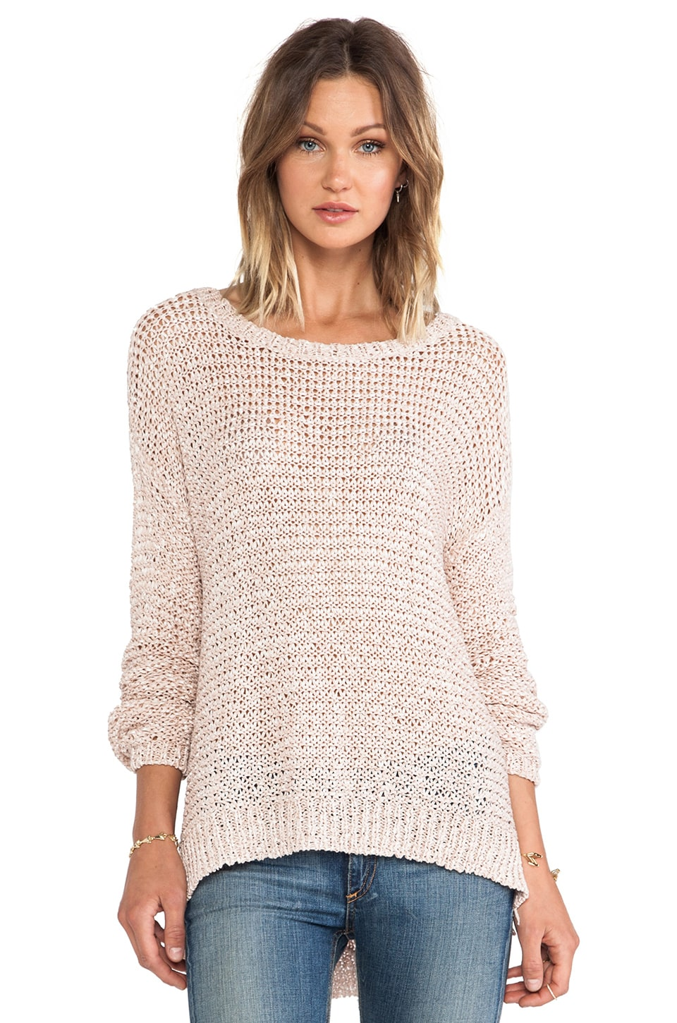 Elizabeth and James Lattice Boxy Pullover in Nude/Nude