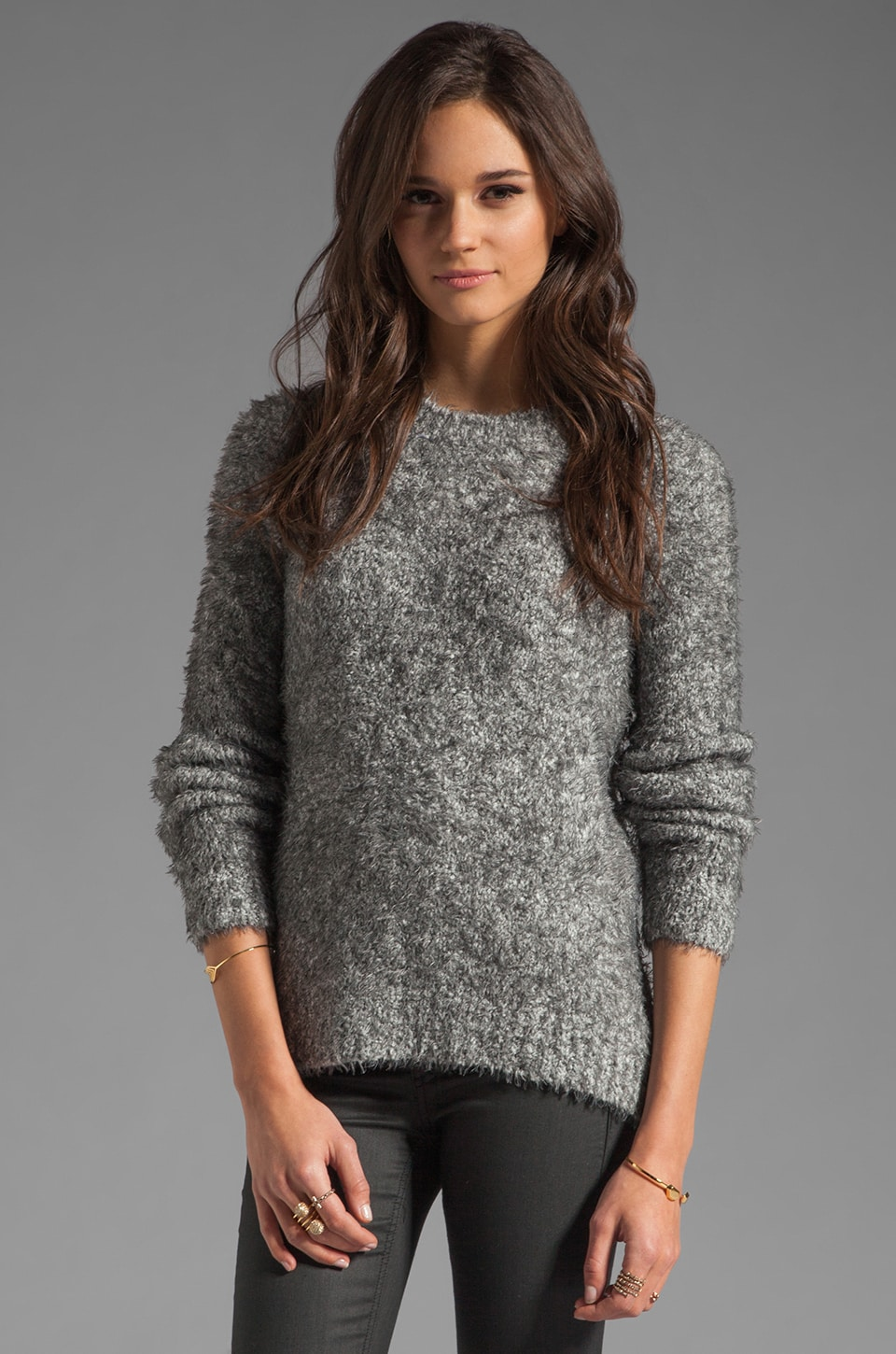 Elizabeth and James Raglan Pullover Sweater in Grey