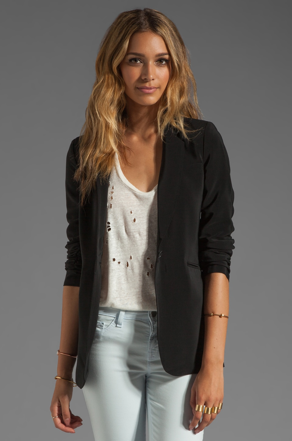 Elizabeth and James Crepe Heather Blazer in Black