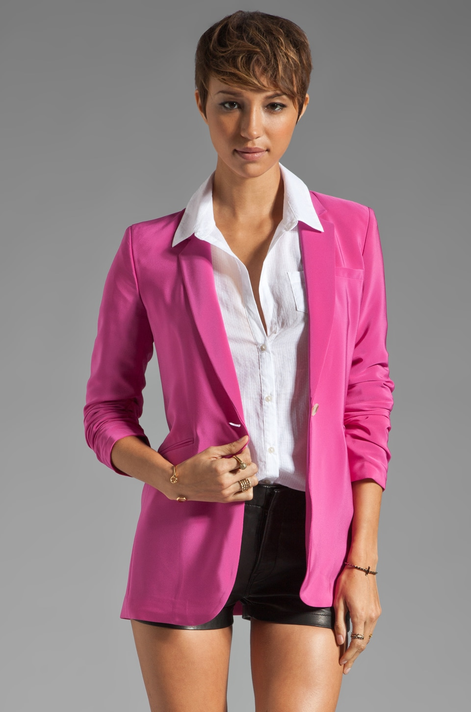 Elizabeth and James Crepe Heather Blazer in Fuchsia