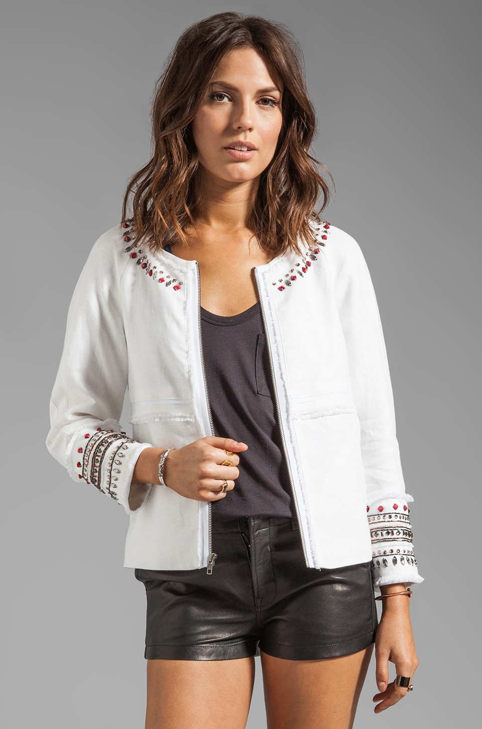 Elizabeth and James Embellished Jayne Jacket in Bone