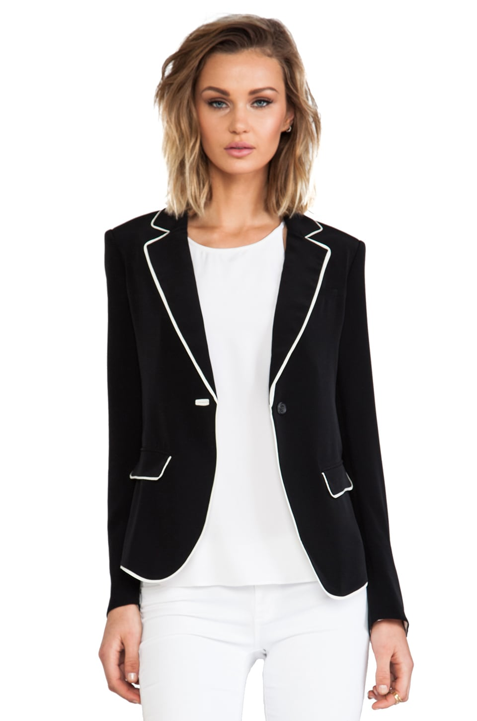 Elizabeth and James Alma Blazer in Black/Ivory