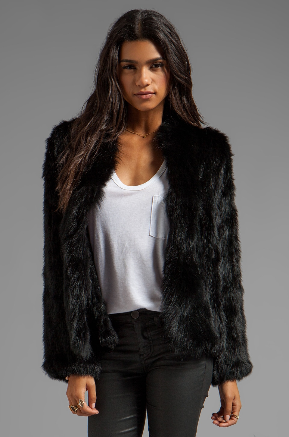 Elizabeth and James Bianca Fur Poncho in Black