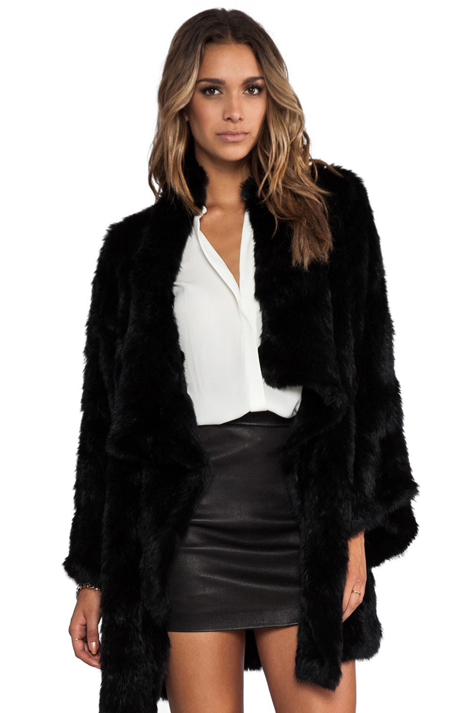 Elizabeth and James Kimono Elijah Rabbit Fur Coat in Black