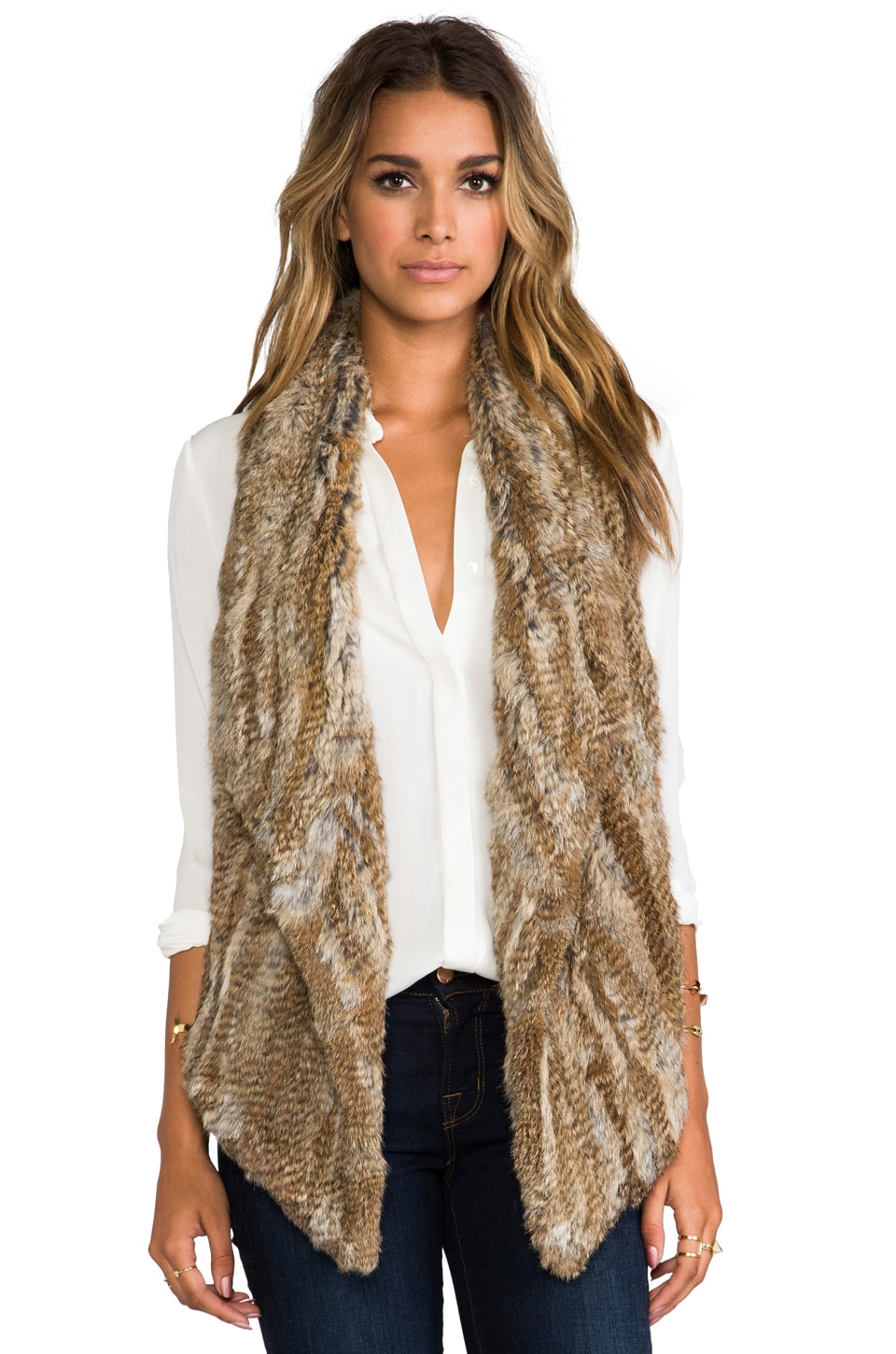 Elizabeth and James Menia Vest in Natural/Brown