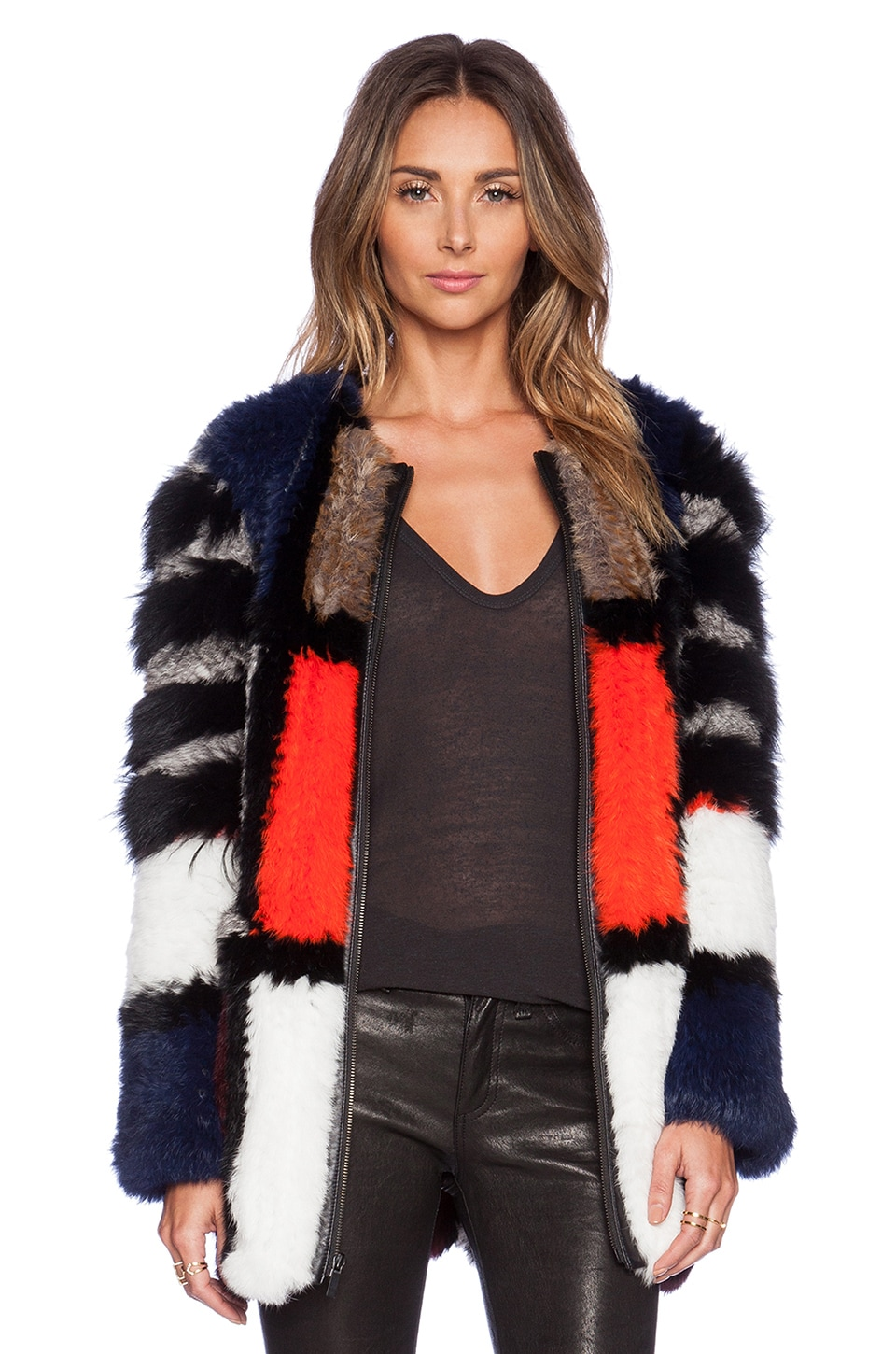 Elizabeth and James Tarra Coat with Rabbit & Coyote Fur in Black Multi