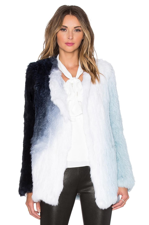 Elizabeth and James Beatrix Rabbit Fur Jacket in Jewel Blue