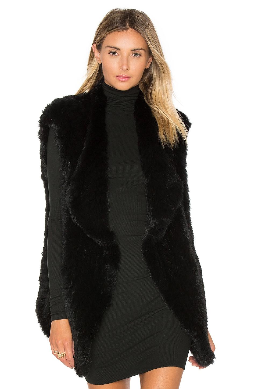 Elizabeth and James Isla Rabbit Fur Vest in Black