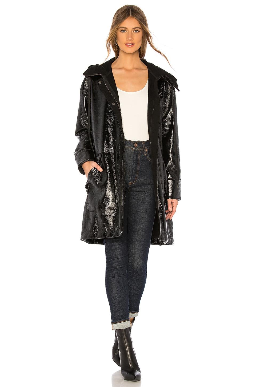 Varick Hooded Coated-Felt Raincoat, Black