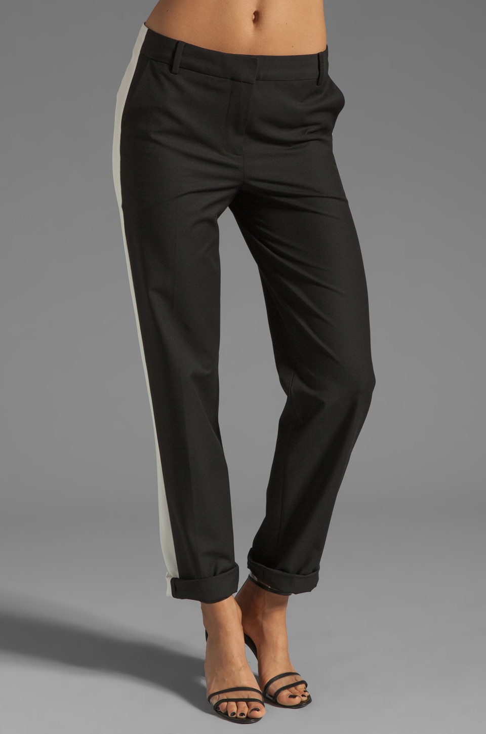 Elizabeth and James Marlene Tuxedo Trouser in Black/Ivory