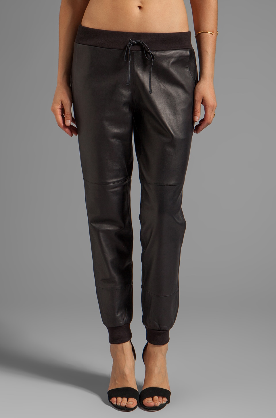 Elizabeth and James Kacey Leather Sweatpant in Black
