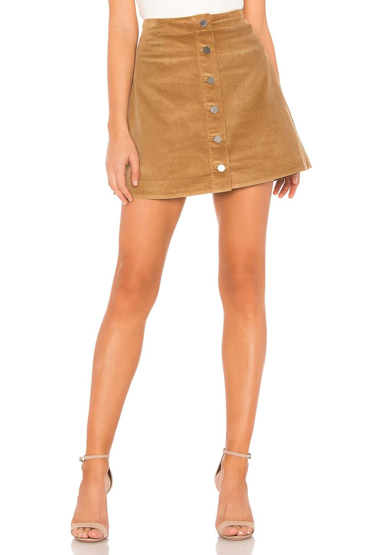 Prewitt Button-Front Corduroy Mini Skirt in Tan