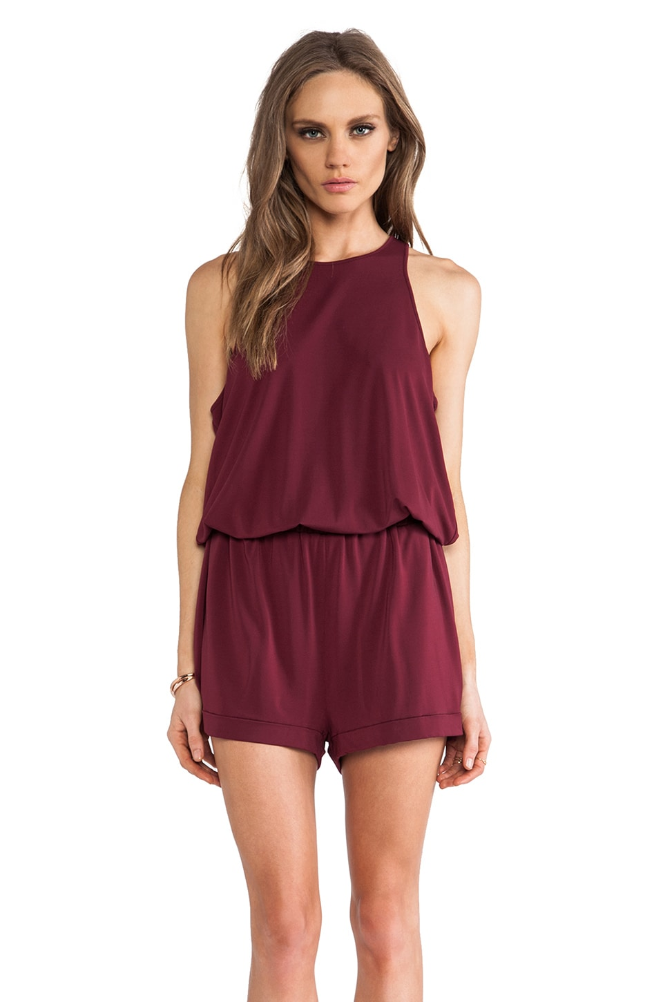 Elizabeth and James Lisa Romper in Garnet