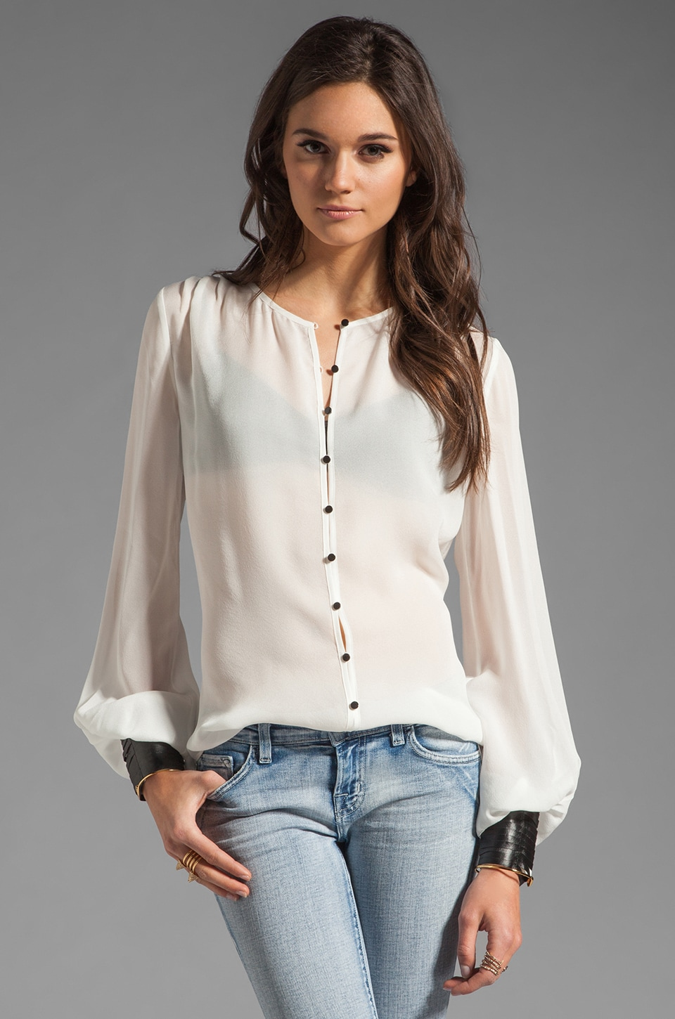 Elizabeth and James Mikayla Blouse in Ivory/Black