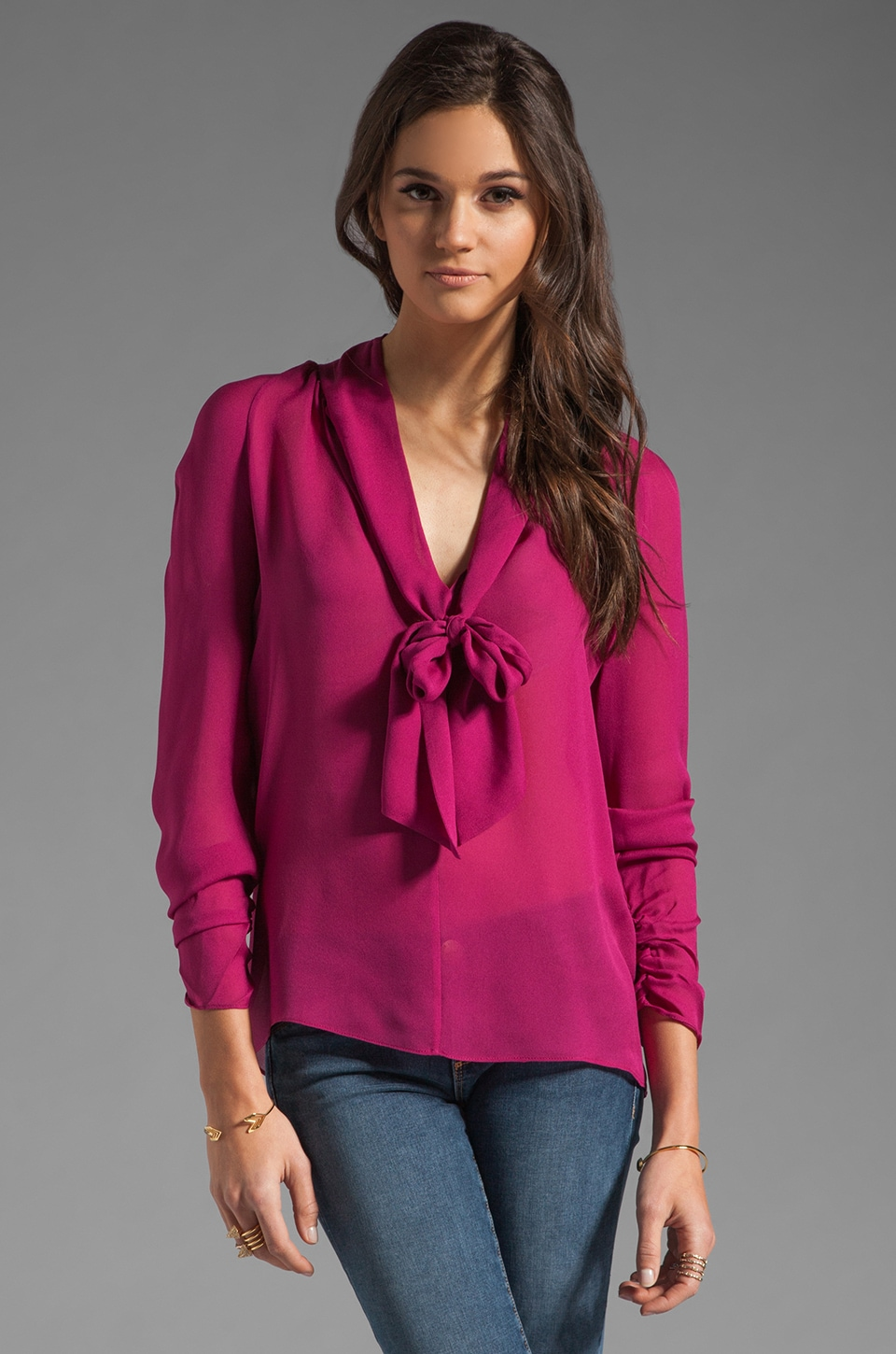 Elizabeth and James Daphne Blouse in Raspberry