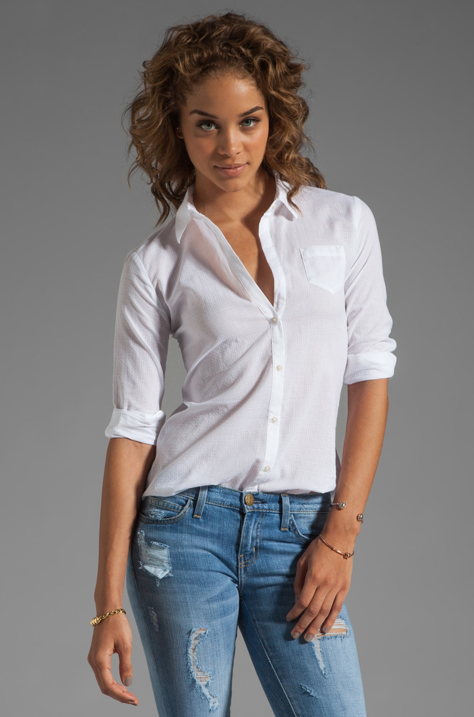 Elizabeth and James Textured Cohen Shirt in White