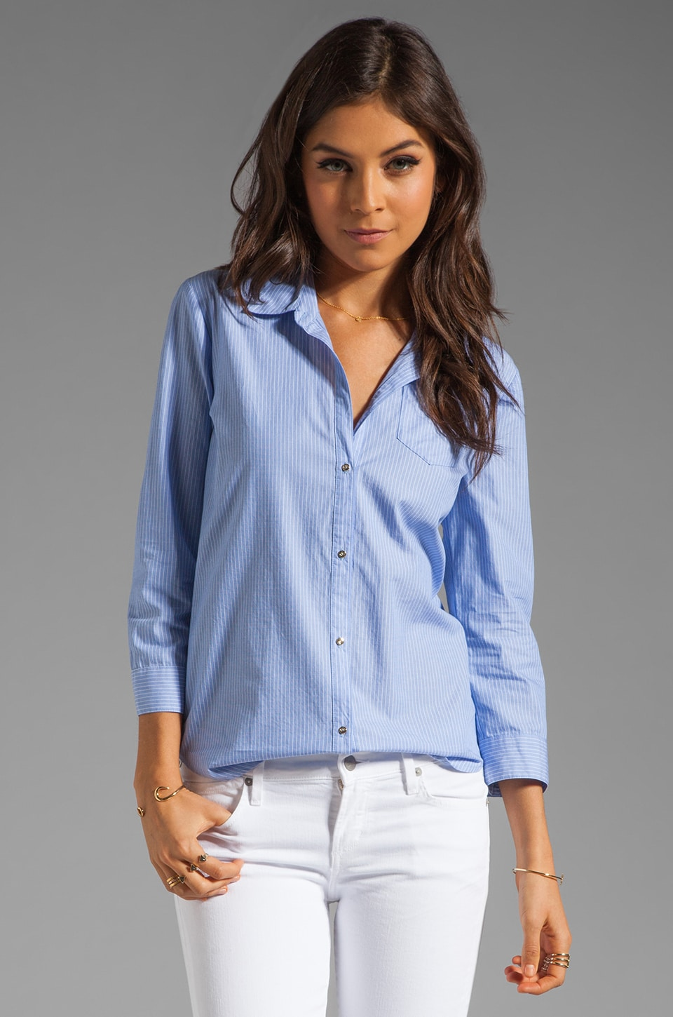 Elizabeth and James Rumpled Cohen Shirt in Blue Railroad