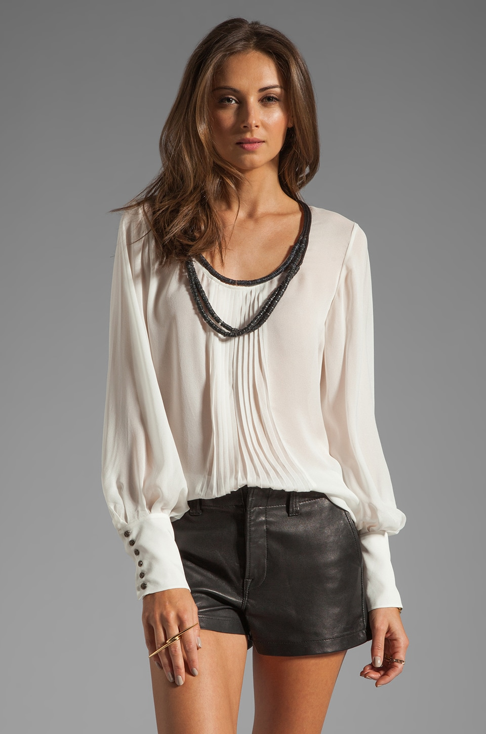 Elizabeth and James Natalie Blouse in Ivory/Black