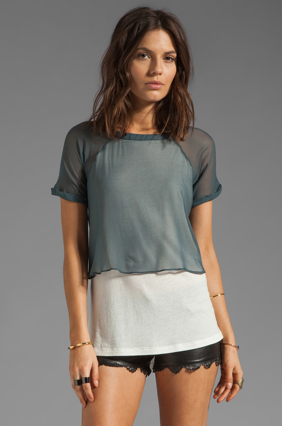 Elizabeth and James Amina T Shirt in Off White/Moody Grey