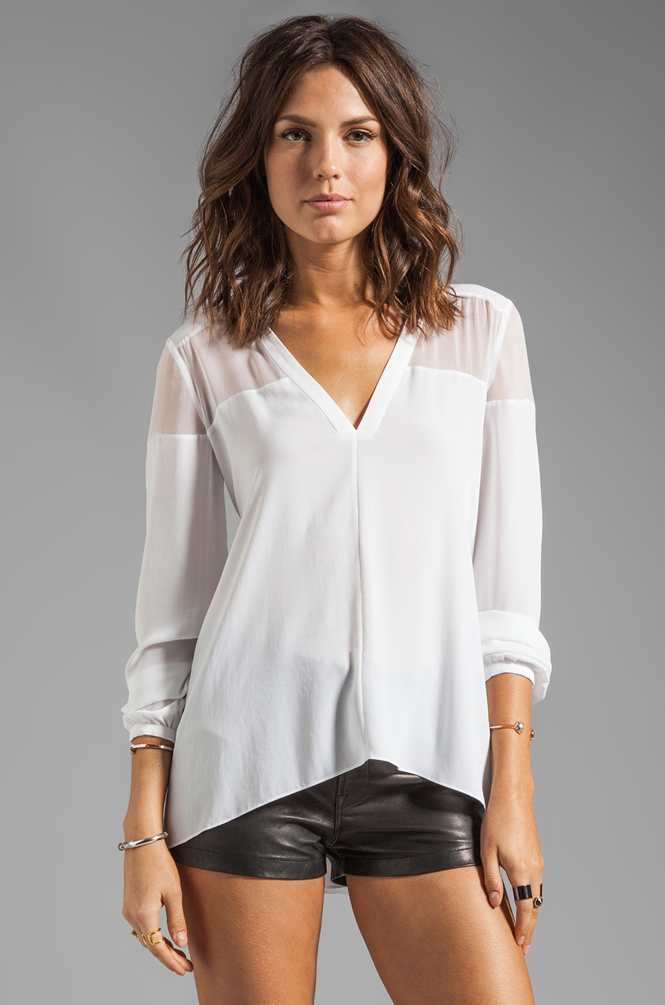 Elizabeth and James Karin Blouse in Chalk White