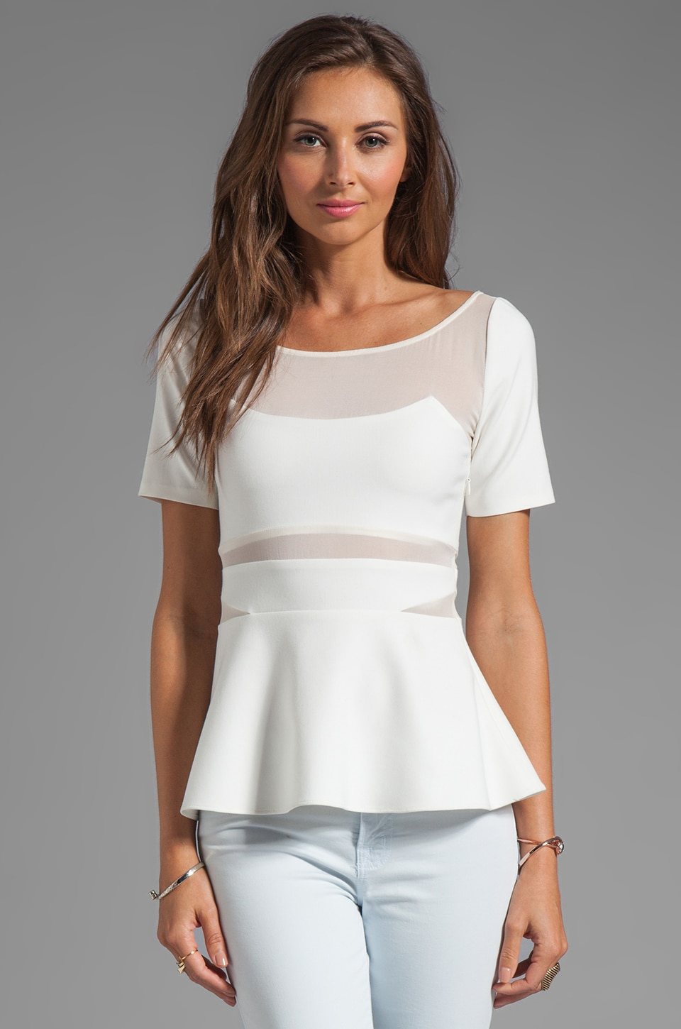 Elizabeth and James Selena Peplum Top in White