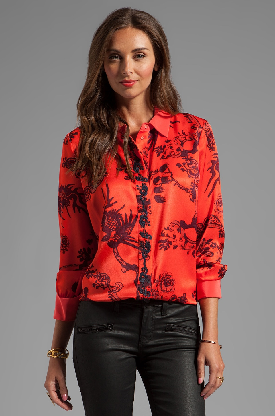 Elizabeth and James Canton Floral Sam Blouse in Hot Coral