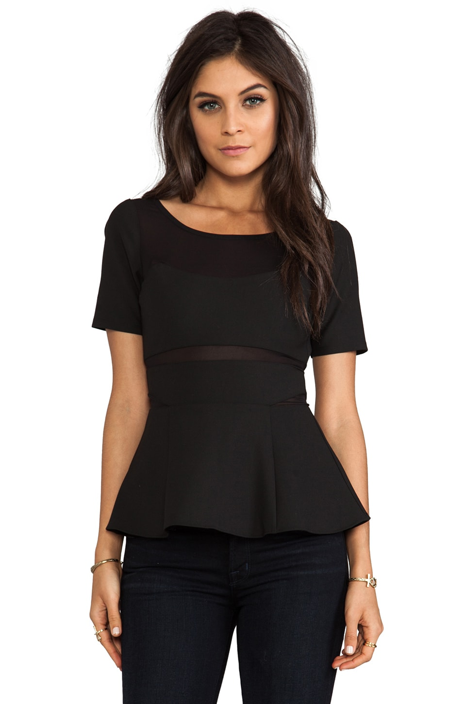 Elizabeth and James Selena Peplum Top in Black