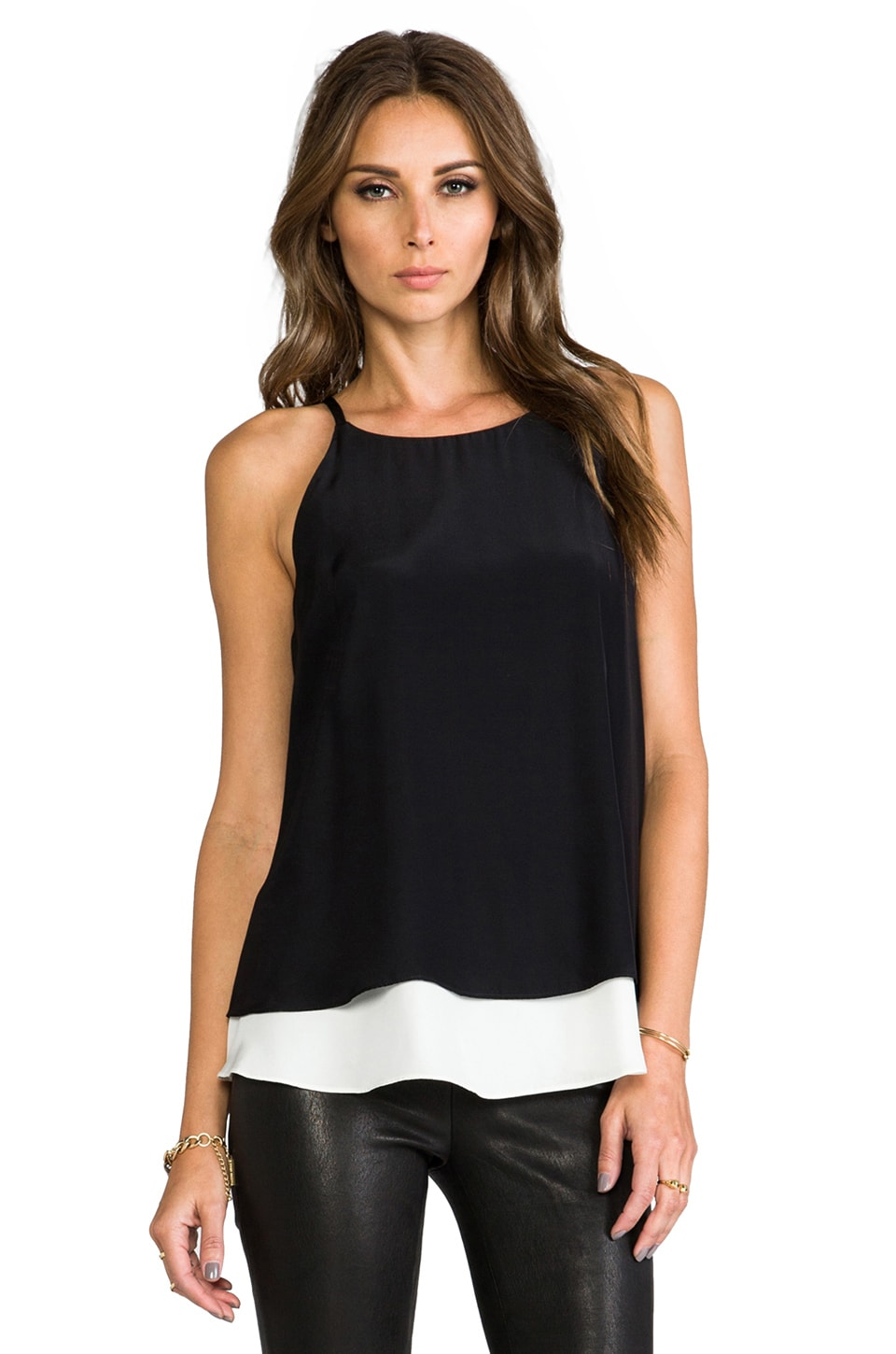 Elizabeth and James Fern Top in Black/Ivory
