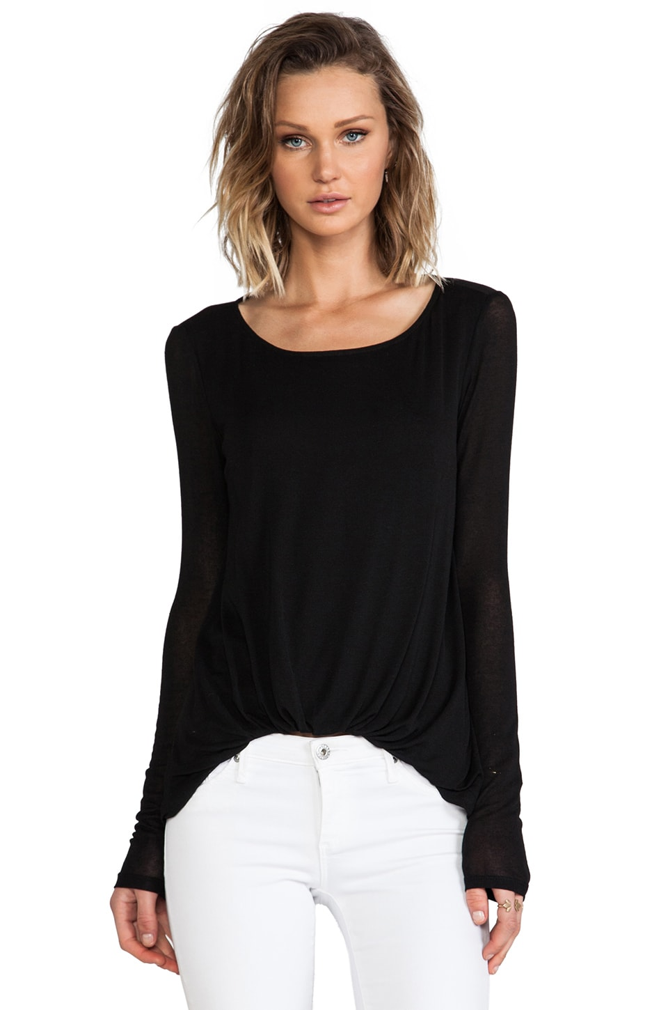 Elizabeth and James Long Sleeve Kim Top in Black