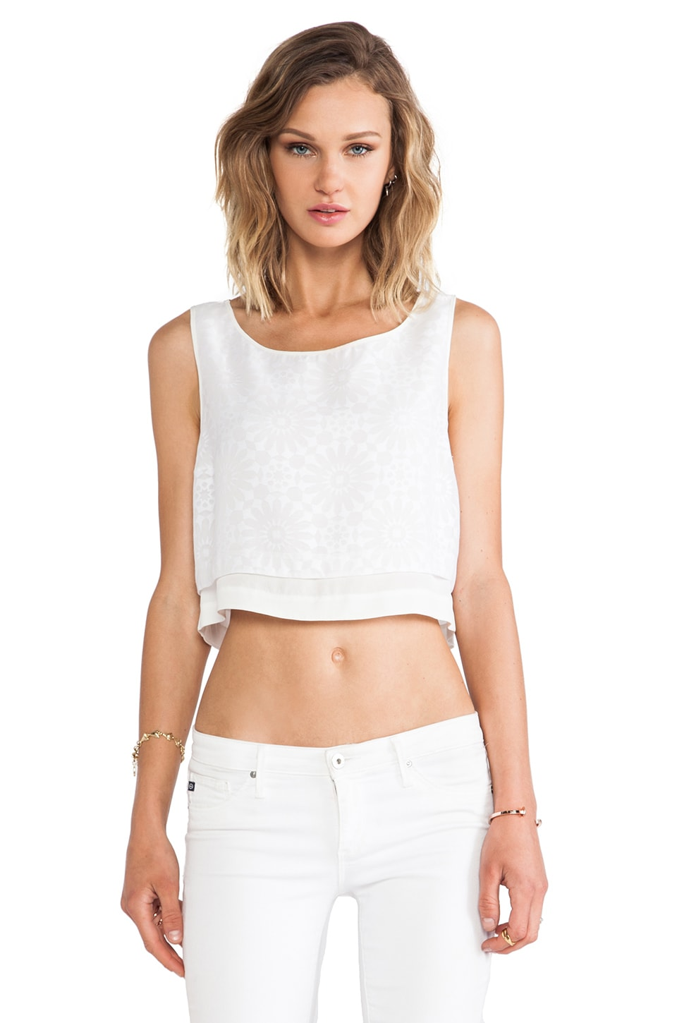 Elizabeth and James Cropped Martine Top in White