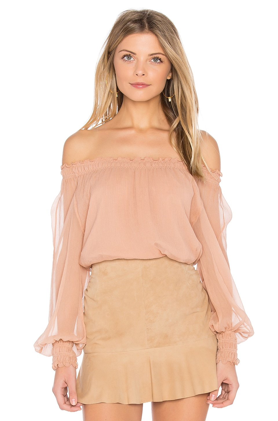 Elizabeth and James Michela Dropped Shoulder Blouse in Rosewood