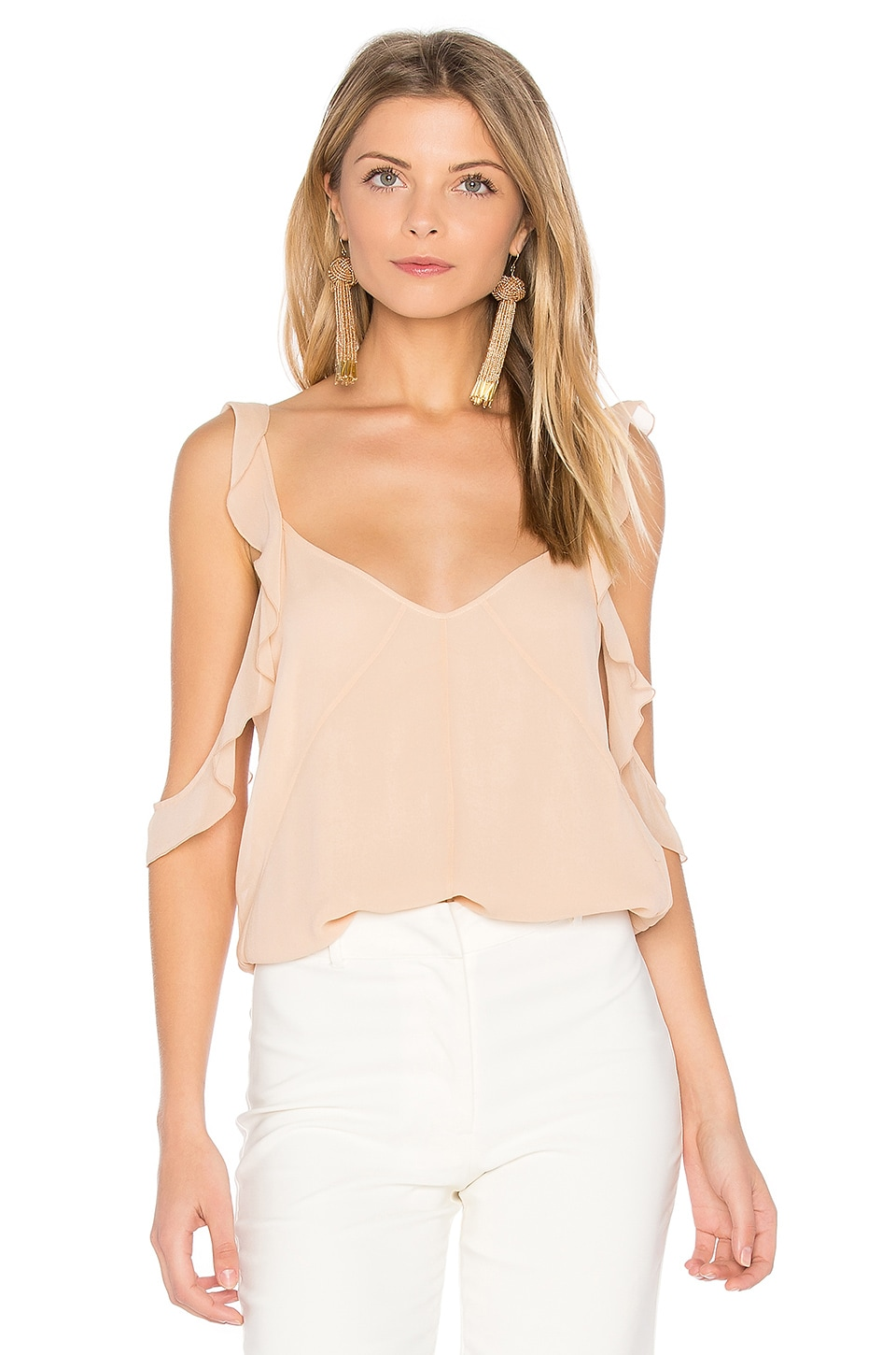 Elizabeth and James Cheryl Ruffle Tank in Biscuit