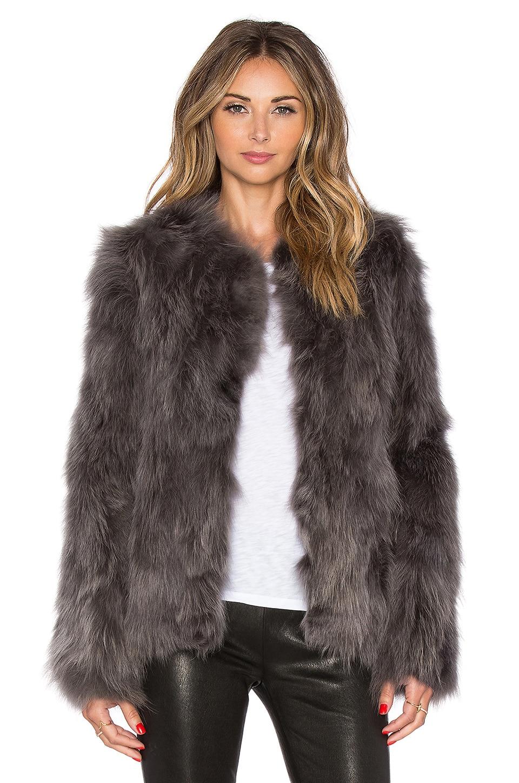 EAVES Helen Fox Fur Jacket in Grey