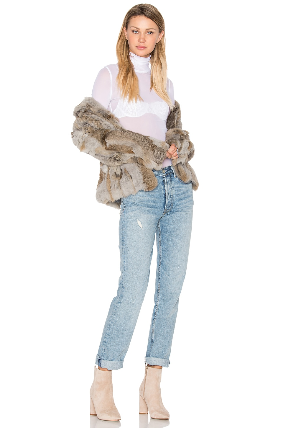 Liza Rabbit Fur Jacket by EAVES