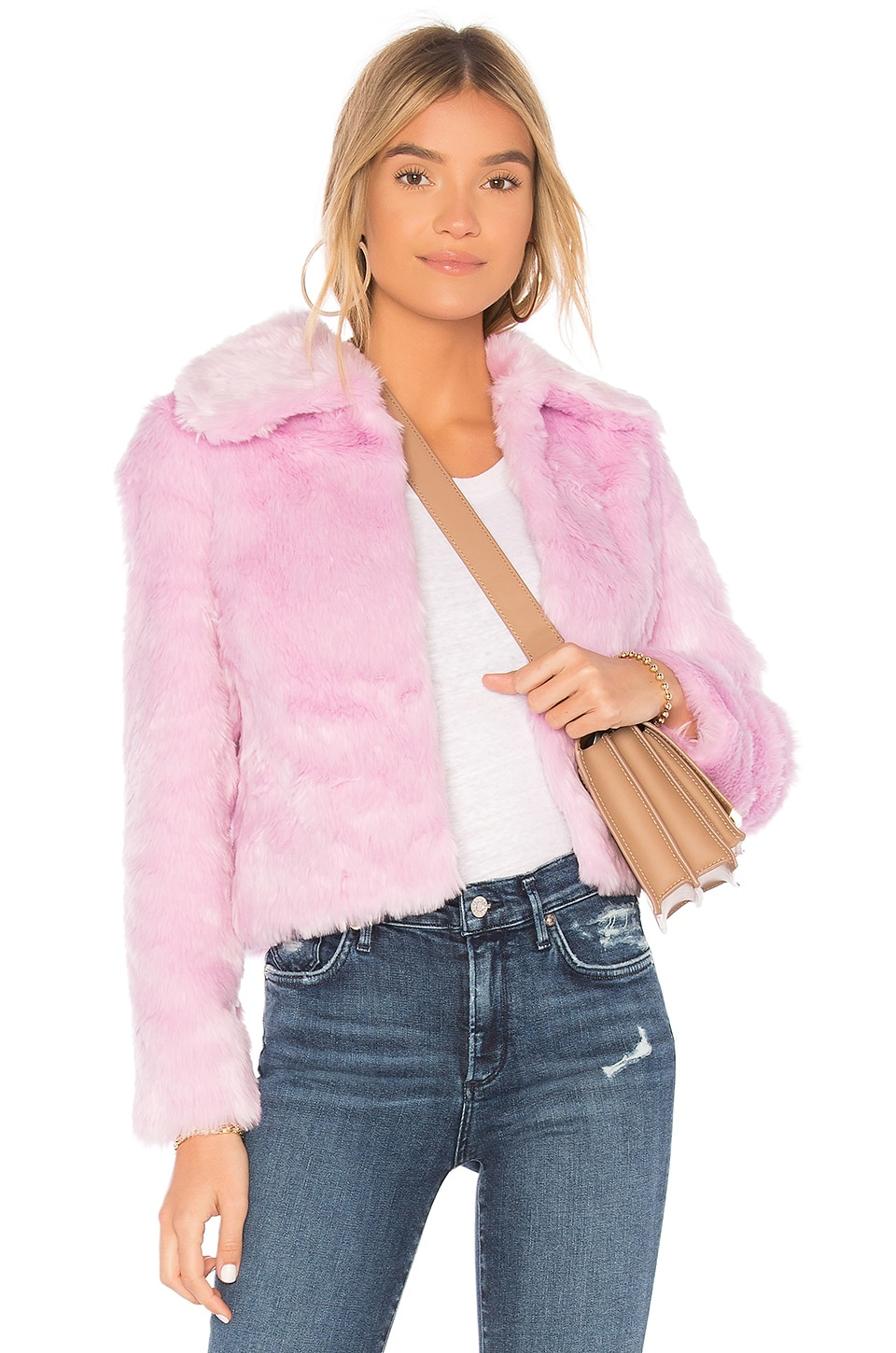 EAVES x REVOLVE Ryder Faux Fur Jacket in Ballerina
