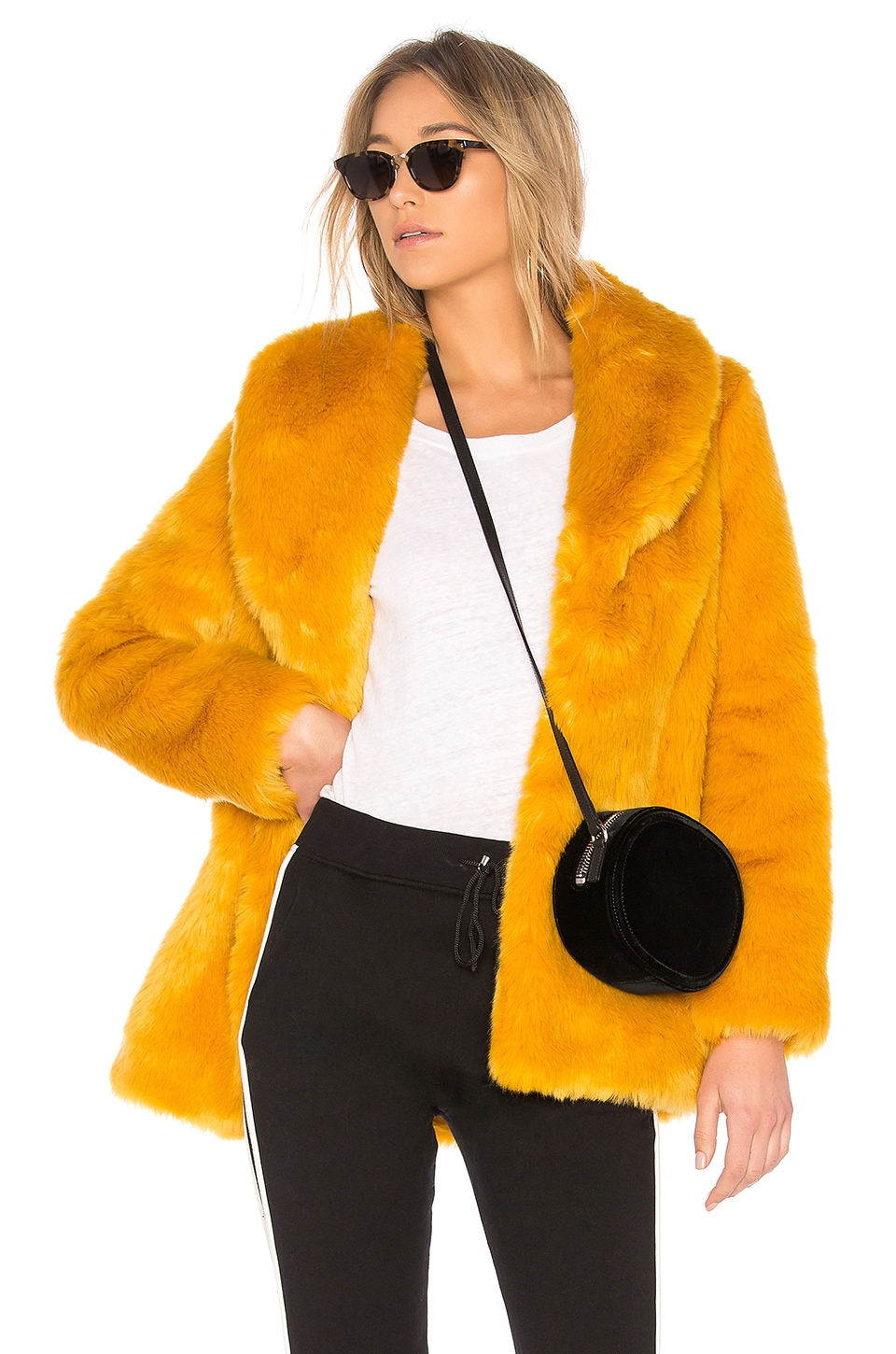 EAVES Gold Rush Faux Fur Coat in Marigold