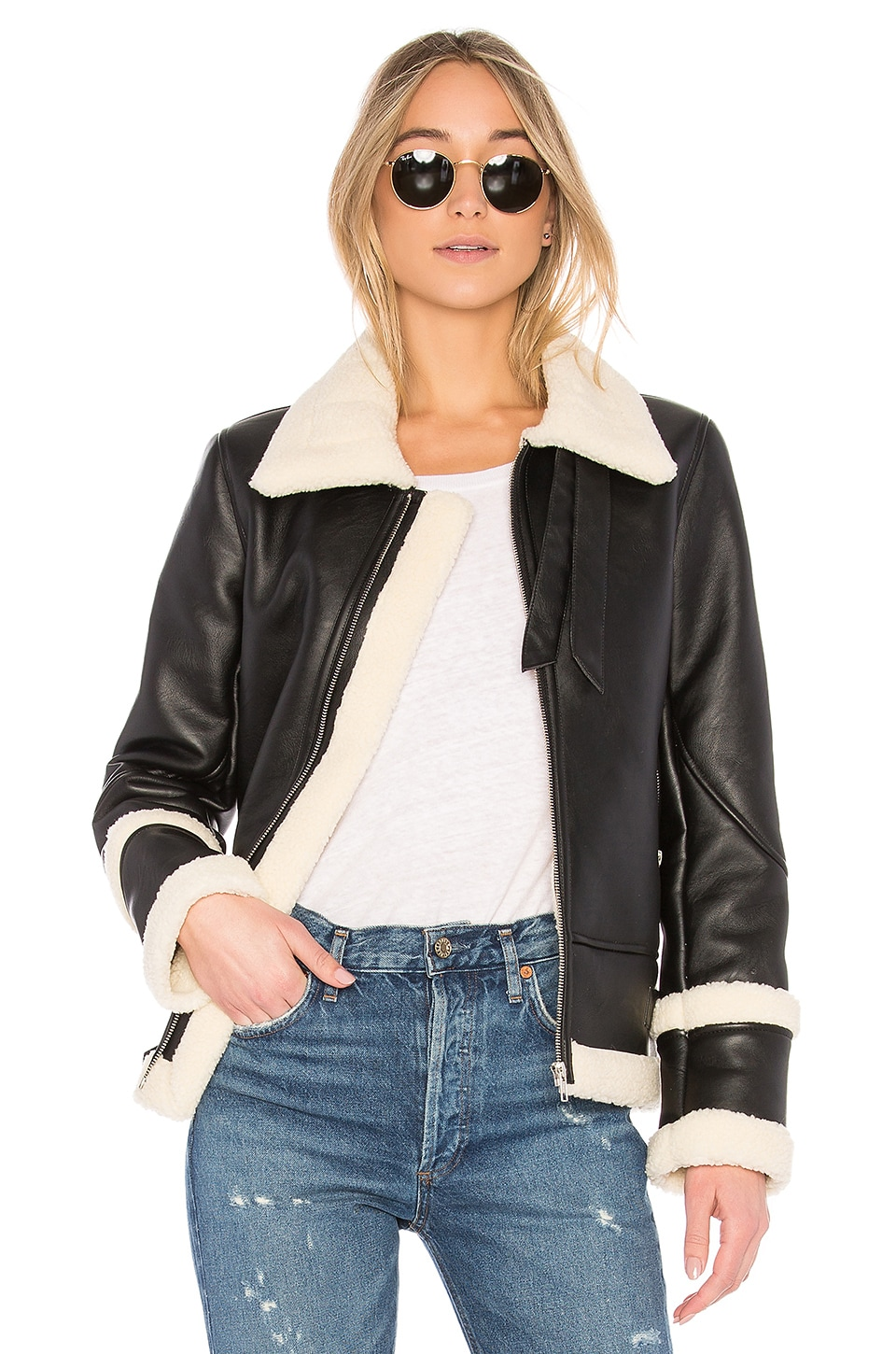 EAVES Piper Moto Jacket in Oreo