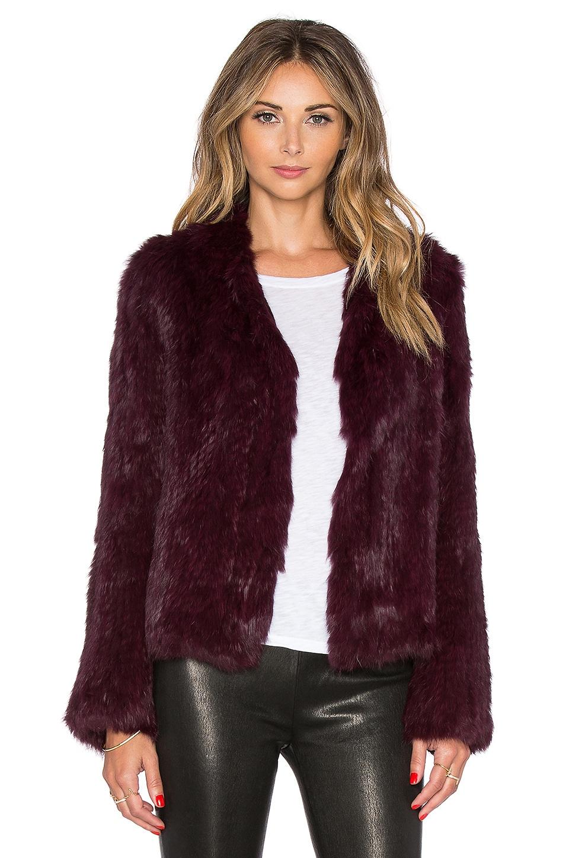 EAVES Rabbit Fur Alice Jacket in Bordeaux